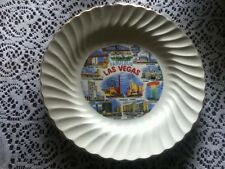 "10"" VINTAGE Fabulous Las Vegas Sheffield Landmark Plate Bone White Dish USA"