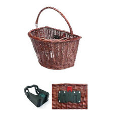 "Wicker ""D"" Shape Front BIke Basket with Quick Release"