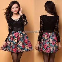 Sexy Women Floral Lace Skirt Party Evening Cocktail Long Sleeve Short Mini Dress
