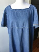 Original Ty Wear Women's 3X Blue Denim Jean Short Sleeve Square Neck Maxi Dress