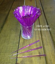 """Pack of 100 Prism Pick 4.5"""" PURPLE / Cocktail, Party, Food, Olive Toothpick"""