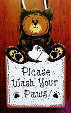Bear Wash Your Paws Sign Bath Bathroom Decor Wall Art Hanger Plaque Camp Camper