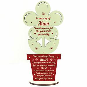 In Memory Of Mum Wooden Flower Memorial Gift For Mothers Day Love Sign Keepsake