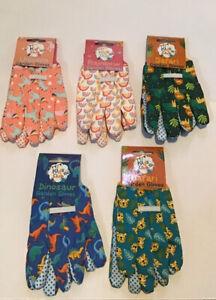 Kids Boys Girls Gardening Gloves Dinosaur/Unicorn/ Lion/ Safari/Rainbow Age 3+