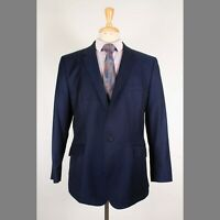 Ted Baker 44R Navy Solid Wool One Button Mens Sport Coat Blazer Jacket