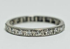 Antique Art Deco Platinum .60ctw Diamond Eternity Size 7 Anniversary Band Ring