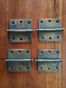 Four Small Copper Flash Cupboard Door Hinges W/ Cannon Ball Pins