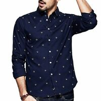 Mens 100% Cotton Dots Simple Slim Long Sleeve Print Casual Shirt Blue M~2XL 5873