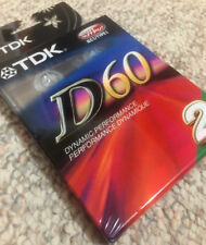 TDK D60 2 Pack High Output Audio Cassette Tape Factory Sealed (C.54)