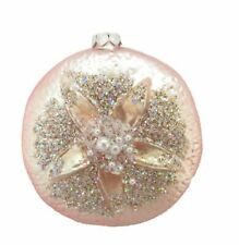 Pink Shell Sand Dollar Christmas Holiday Ornament Glass