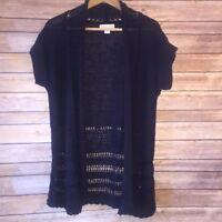 Coldwater Creek Blue Purple Cardigan Sweater Sz S (8) Open Front Crochet Soft!