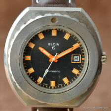 ELGIN VINTAGE 200M 44MM STAINLESS STEEL DIVER AUTOMATIC ORANGE HANDS ETA 2783