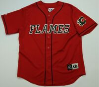 Rare Vintage MAJESTIC Calgary Flames NHL Hockey Baseball Jersey 90s 2000s Red