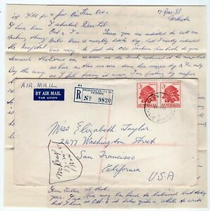 Australia 1961 Degraves Street VIC - Registered Airmail Cover to USA w/ Contents
