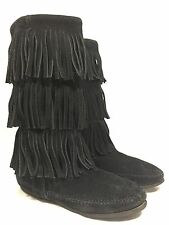 Minnetonka Women's Boots Size 6 Black Suede 3 Layer Fringe Mid Calf Boots 1639
