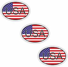 3x Oval Flag USA Stickers United States Small Country Code Laptop Smartphone