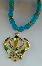 GOLD Plated Punjabi Sikh Khanda Pendant Car Rear Mirror Hanging Turquoise beads