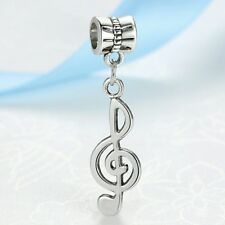 Musical note treble clef hanging charm for European Charm Bracelet