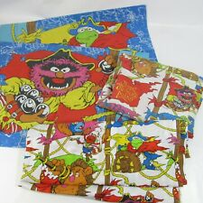 Vtg Muppet Treasure Island Full Bed Sheets Double Set Pillowcases Fitted Flat