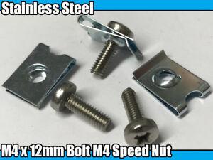 10x Stainless Steel Machine Screws M4 x 12mm Pozi Head Bolt M4 Speed U Nut Clips