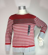Hot New Women's Liz Claiborne Plus 1X Striped Red Gray Sequinned Cotton Sweater