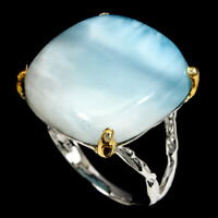 Handmade Antique Blue Larimar 25.16ct Natural 925 Sterling Silver Ring Size 8.5