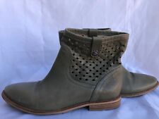 Geox Respira Cutout Ankle Boots Slip On Leather Taupe Green Size 39/8B
