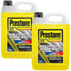 2 x Prestone Max Visibility Car Windscreen Wash Winter Ready To Use 5L