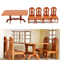 1:12 Dining Room Table with 4 Chairs Set Dolls House Kitchen Miniature