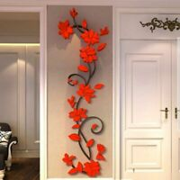 3D Vinyl Wall Flower Vase Tree Art Stickers Mural Home Decal Bedroom Decoration