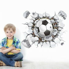 3D Football Soccer Break Cracked Wall Stickers Removable decals decor Boy Mural