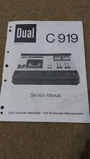 ORIGINAL DUAL MODEL C 919 CASSETTE TAPE RECORDER SERVICE MANUAL