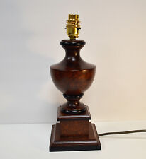 """Table Lamp Base Dark Hard Wood Brass Lampholder Gold Cable 12"""" height"""