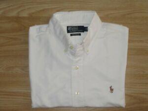 Mens POLO by RALPH LAUREN White Cotton Oxford Shirt Sz 16.5 / 42 GREAT!