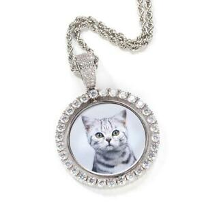 Custom Photo Rotating double-sided Medallion Pendant, Necklace With Twist Chain