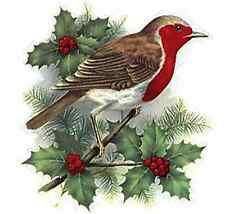 "2 Christmas Robin Bird Holly Berry 3"" Waterslide Ceramic Decals Mx"