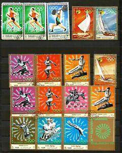 YAR 1972 Olympics & Sailing  CTO with original gum + olympics 1968 stamps