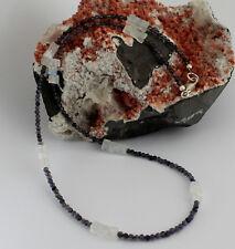 Iolita Arco Iris Piedra de la luna CADENA PRECIOSA BOLA 925 Collar Plata Hermoso