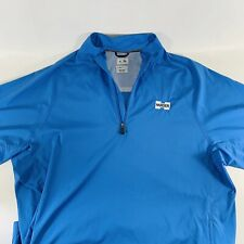 """Adidas ClimaProof Wind Embroidered """"Harder� Mens Xl Blue Golf Pullover S/S"""