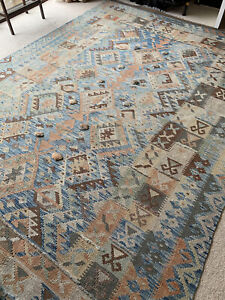 "Stunning Large New Afghan Kilim Rug 10ft X 6ft 8"" Handwoven Wool"
