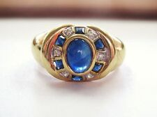 Gorgeous Vntg Cabochon Blue Sapphire & Diamonds Ring 14K Yellow Gold sz 7.5