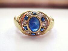 Gorgeous Vntg Cabochon Blue Sapphire & Diamonds Ring 14K Yellow Gold sz 7.5