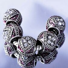 5pcs White Gold Plated Pink Enamel Crystal Beads Fit European Charms Bracelet