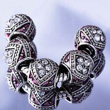 european beads 5pcs Enamel rhinestone Silver charms beads Fit Bracelet Lot