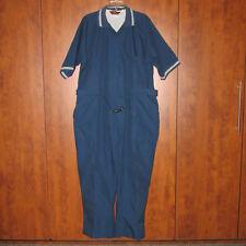 Men's Vintage Size 48 Reg Jumpsuit Coveralls Parasuit Blue w/White Stripe, Euc