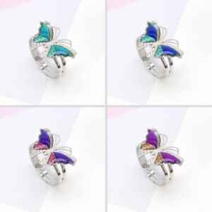Colorful Butterfly Mood Temperature Emotion Ring Feeling Rings For Women Kids