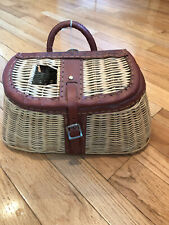 Vintage Wicker & Leather Fishing Creel Trout Basket never used with original tag