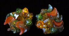 Vtg Art Glass Halloween Orange Lucite Bead Cluster Clip On Earrings West GERMANY