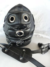 LEATHER GIMP Padded Locking Hood Full Mask Open Mouth O Costume Party Mask Play
