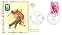 Enveloppe Premier Jour 27/1/1968 Jeux Olympiques Grenoble ski alpin + vignette